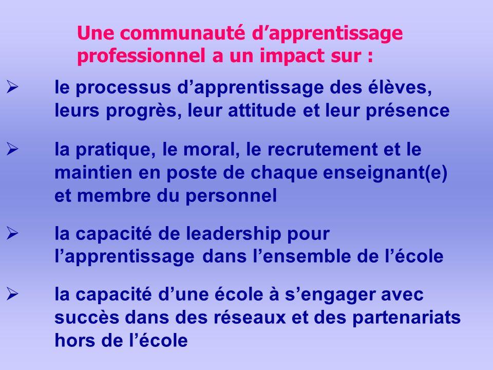 Une communauté dapprentissage professionnel a un impact sur : la pratique, le moral, le recrutement et le maintien en poste de chaque enseignant(e) et