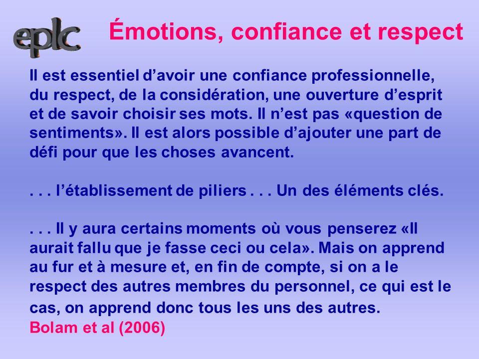 Émotions, confiance et respect Il est essentiel davoir une confiance professionnelle, du respect, de la considération, une ouverture desprit et de sav