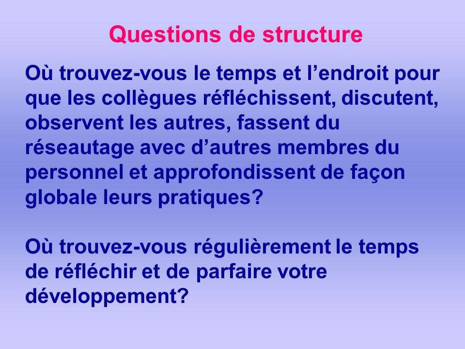 Questions de structure Où trouvez-vous le temps et lendroit pour que les collègues réfléchissent, discutent, observent les autres, fassent du réseauta