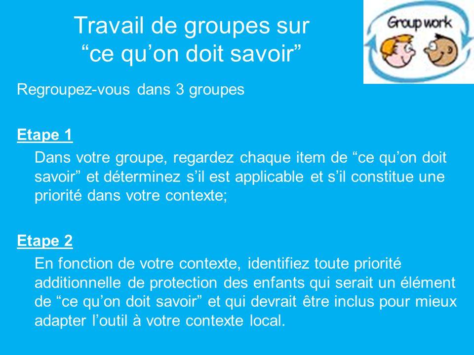 Travail de groupes sur ce quon doit savoir Regroupez-vous dans 3 groupes Etape 1 Dans votre groupe, regardez chaque item de ce quon doit savoir et dét