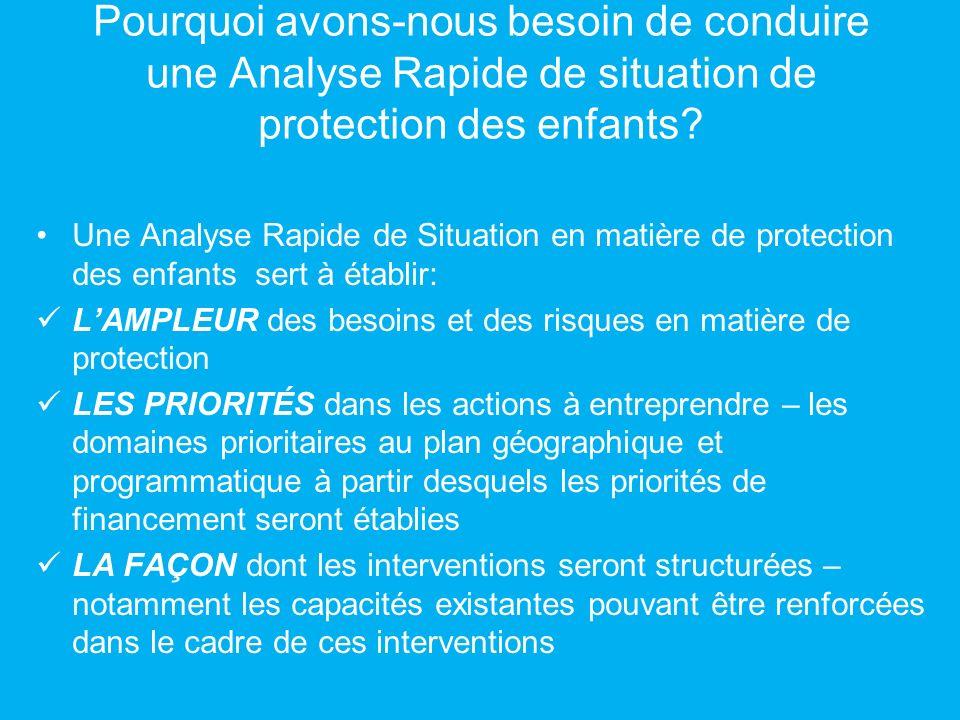 Pourquoi avons-nous besoin de conduire une Analyse Rapide de situation de protection des enfants? Une Analyse Rapide de Situation en matière de protec