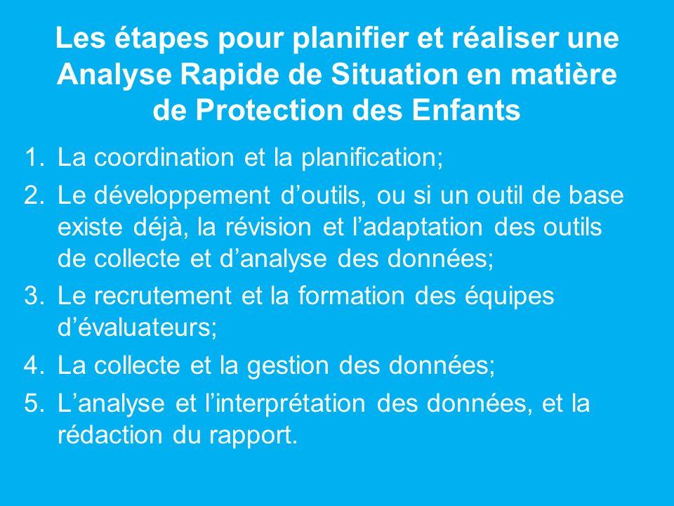 Les étapes pour planifier et réaliser une Analyse Rapide de Situation en matière de Protection des Enfants 1.La coordination et la planification; 2.Le