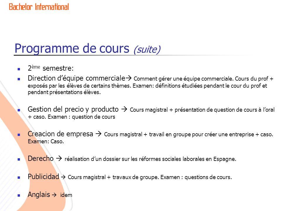 Programme de cours (suite) 2 ème semestre: Direction déquipe commerciale Comment gérer une équipe commerciale.