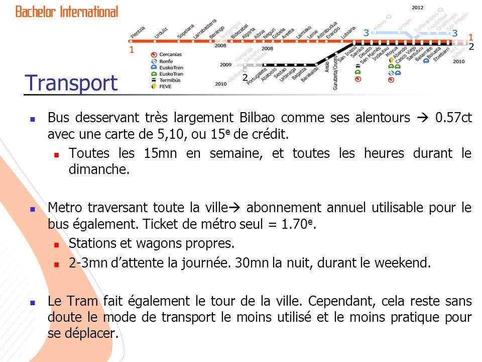 Transport Bus desservant très largement Bilbao comme ses alentours 0.57ct avec une carte de 5,10, ou 15 e de crédit.