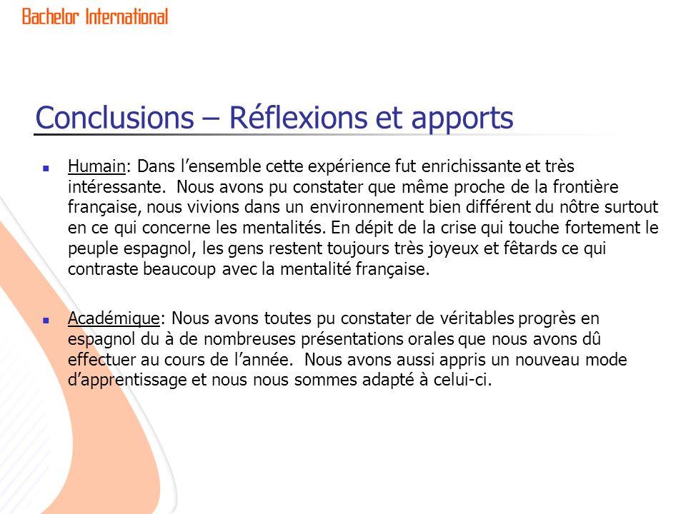 Conclusions – Réflexions et apports Humain: Dans lensemble cette expérience fut enrichissante et très intéressante.