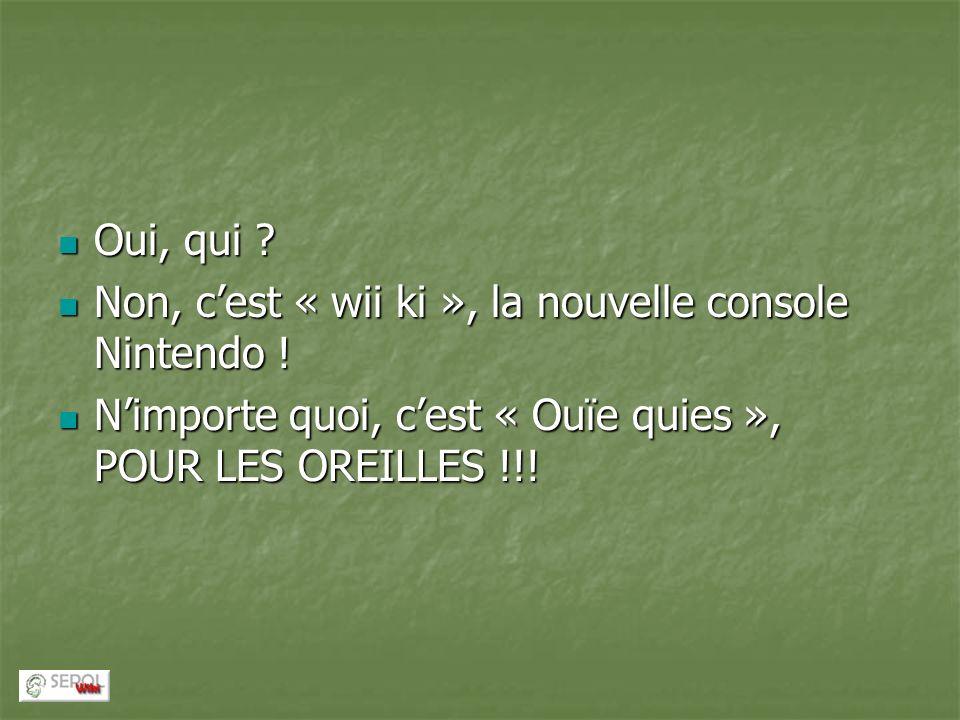 Oui, qui ? Oui, qui ? Non, cest « wii ki », la nouvelle console Nintendo ! Non, cest « wii ki », la nouvelle console Nintendo ! Nimporte quoi, cest «