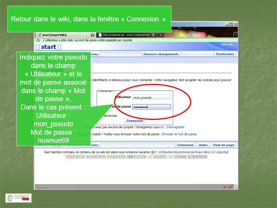Indiquez votre pseudo dans le champ « Utilisateur » et le mot de passe associé dans le champ « Mot de passe », Dans le cas présent : Utilisateur : mon