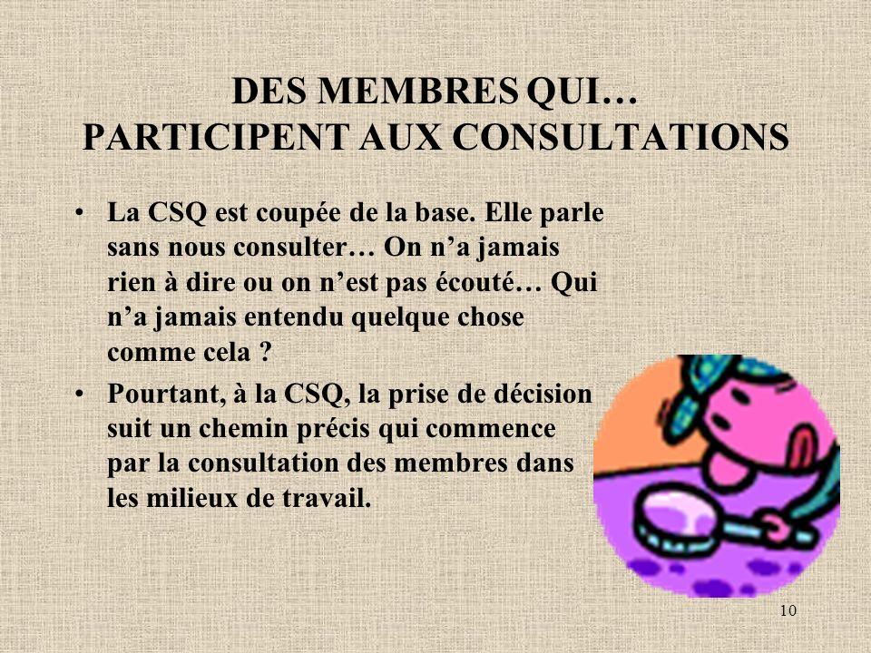 10 DES MEMBRES QUI… PARTICIPENT AUX CONSULTATIONS La CSQ est coupée de la base.