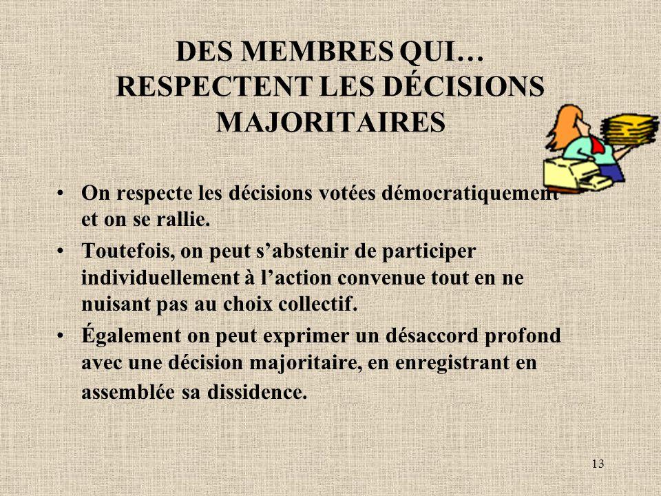 13 DES MEMBRES QUI… RESPECTENT LES DÉCISIONS MAJORITAIRES On respecte les décisions votées démocratiquement et on se rallie.