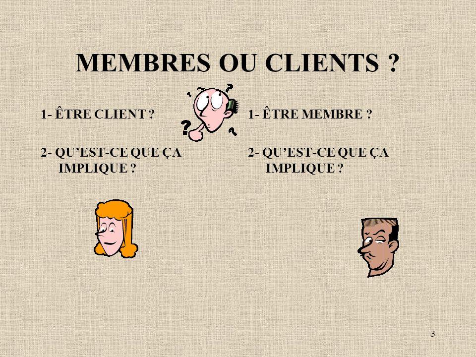 3 MEMBRES OU CLIENTS . 1- ÊTRE CLIENT . 2- QUEST-CE QUE ÇA IMPLIQUE .