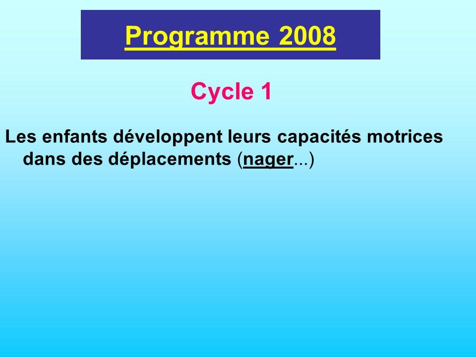 Programme 2008 Les enfants développent leurs capacités motrices dans des déplacements (nager...) Cycle 1