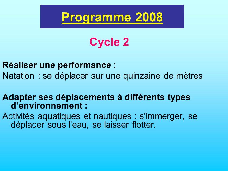 programme 2002 Réaliser une performance : Natation : se déplacer sur une quinzaine de mètres Adapter ses déplacements à différents types denvironnemen