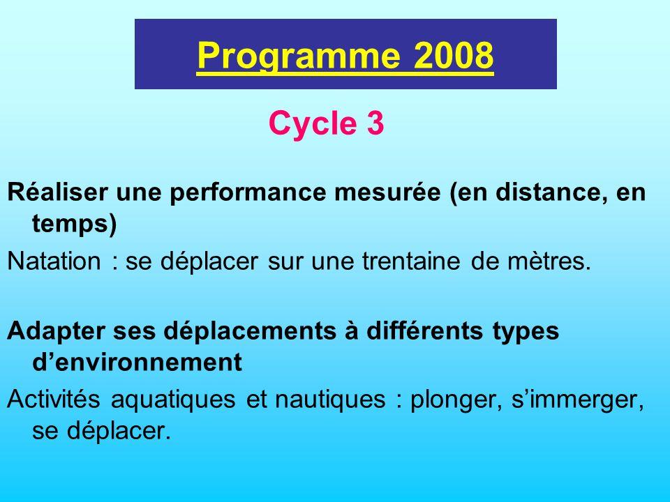 programme 2002 Réaliser une performance mesurée (en distance, en temps) Natation : se déplacer sur une trentaine de mètres. Adapter ses déplacements à