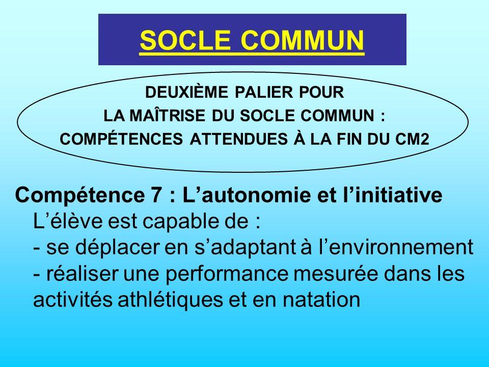 LE SOCLE COMMUN DEUXIÈME PALIER POUR LA MAÎTRISE DU SOCLE COMMUN : COMPÉTENCES ATTENDUES À LA FIN DU CM2 Compétence 7 : Lautonomie et linitiative Lélè