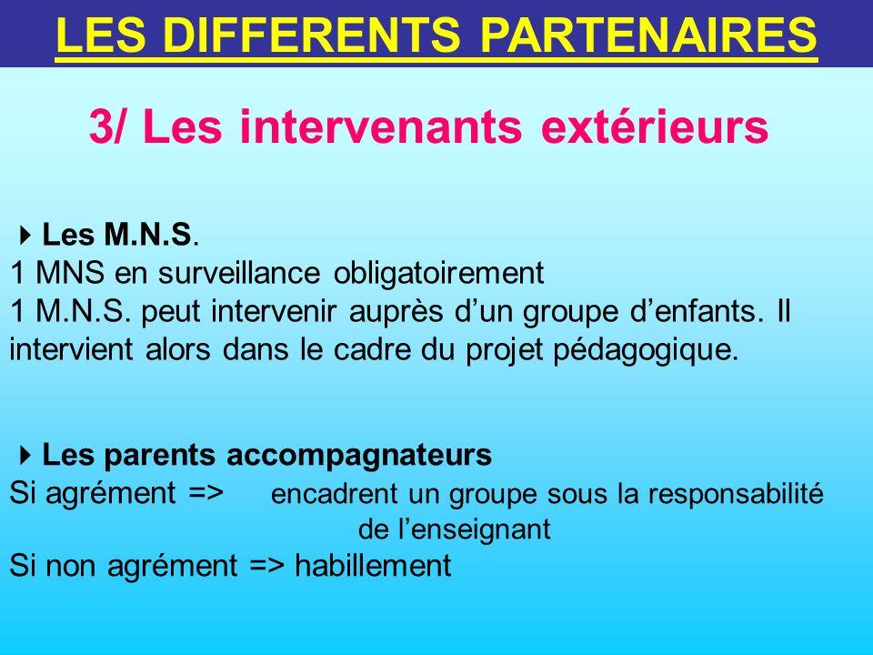 3/ Les intervenants extérieurs LES DIFFERENTS PARTENAIRES Les parents accompagnateurs Si agrément => encadrent un groupe sous la responsabilité de len