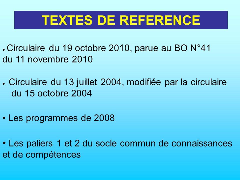 Circulaire du 13 juillet 2004, modifiée par la circulaire du 15 octobre 2004 Les programmes de 2008 Les paliers 1 et 2 du socle commun de connaissance