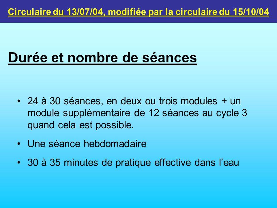24 à 30 séances, en deux ou trois modules + un module supplémentaire de 12 séances au cycle 3 quand cela est possible. Une séance hebdomadaire 30 à 35