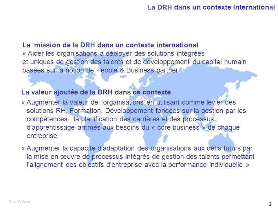 Doc. G.Zara 2 La DRH dans un contexte International La valeur ajoutée de la DRH dans ce contexte « Augmenter la valeur de lorganisations en utilisant