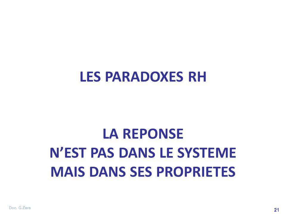 Doc. G.Zara 21 LES PARADOXES RH LA REPONSE NEST PAS DANS LE SYSTEME MAIS DANS SES PROPRIETES