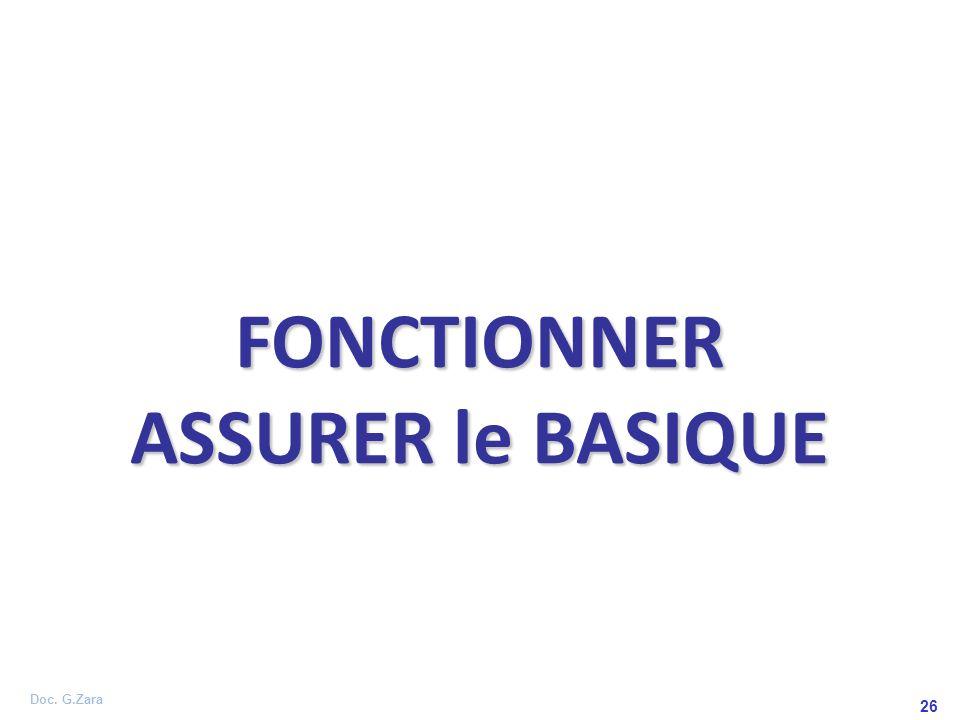 Doc. G.Zara 26 FONCTIONNER ASSURER le BASIQUE
