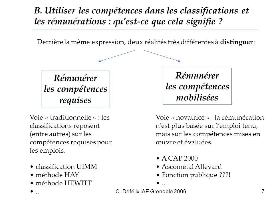 C.Defélix IAE Grenoble 20068 C. Rémunérer les compétences : qui le fait .
