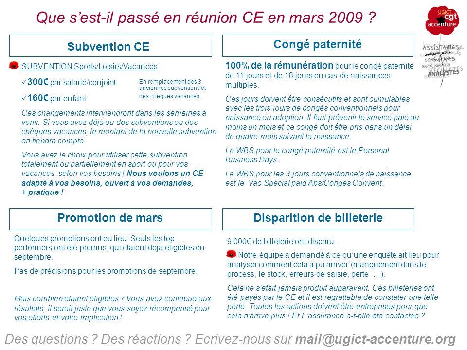 Que sest-il passé en réunion CE en mars 2009 .Situation économique Des questions .