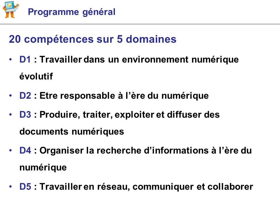 Programme général 20 compétences sur 5 domaines D1 : Travailler dans un environnement numérique évolutif D2 : Etre responsable à lère du numérique D3