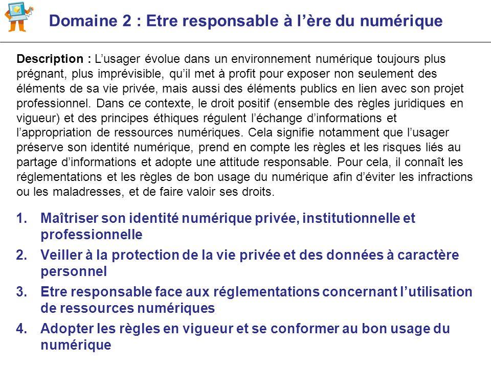 Domaine 2 : Etre responsable à lère du numérique 1.Maîtriser son identité numérique privée, institutionnelle et professionnelle 2.Veiller à la protect