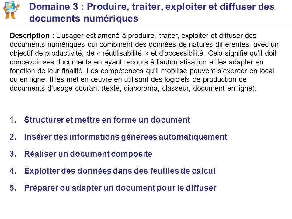 Domaine 3 : Produire, traiter, exploiter et diffuser des documents numériques 1.Structurer et mettre en forme un document 2.Insérer des informations g