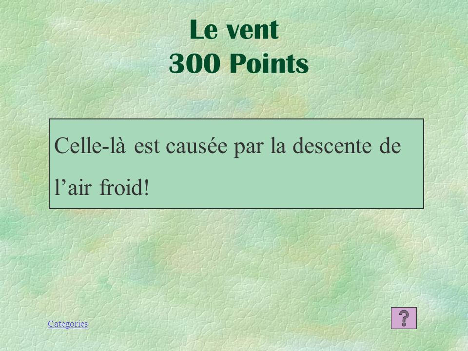 Categories Lair chaud Le vent 200 Points