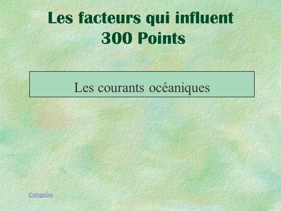 Categories Les facteurs qui inlfuent 300 Points Ce sont les mouvements de leau des océans du monde entier