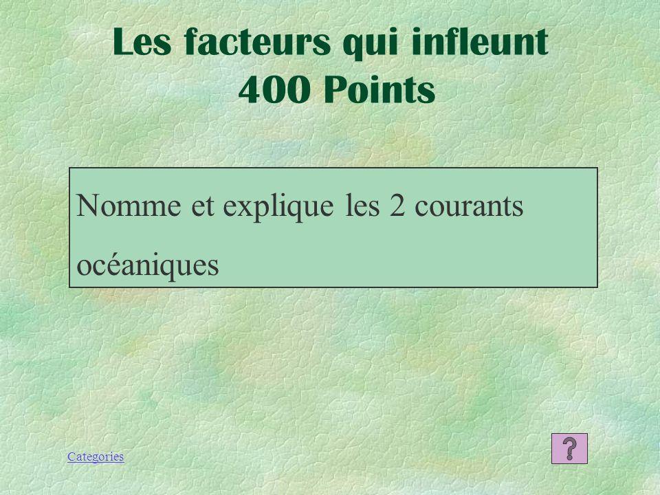 Categories Les facteurs qui influent 300 Points Les courants océaniques