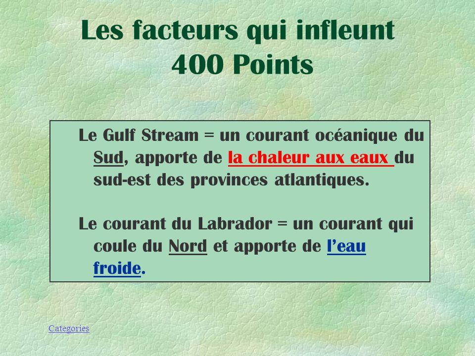 Categories Nomme et explique les 2 courants océaniques Les facteurs qui infleunt 400 Points