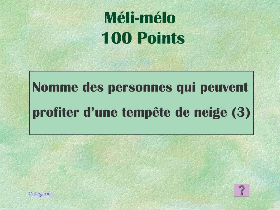 Categories Le brouillard Les facteurs qui influent 500 Points