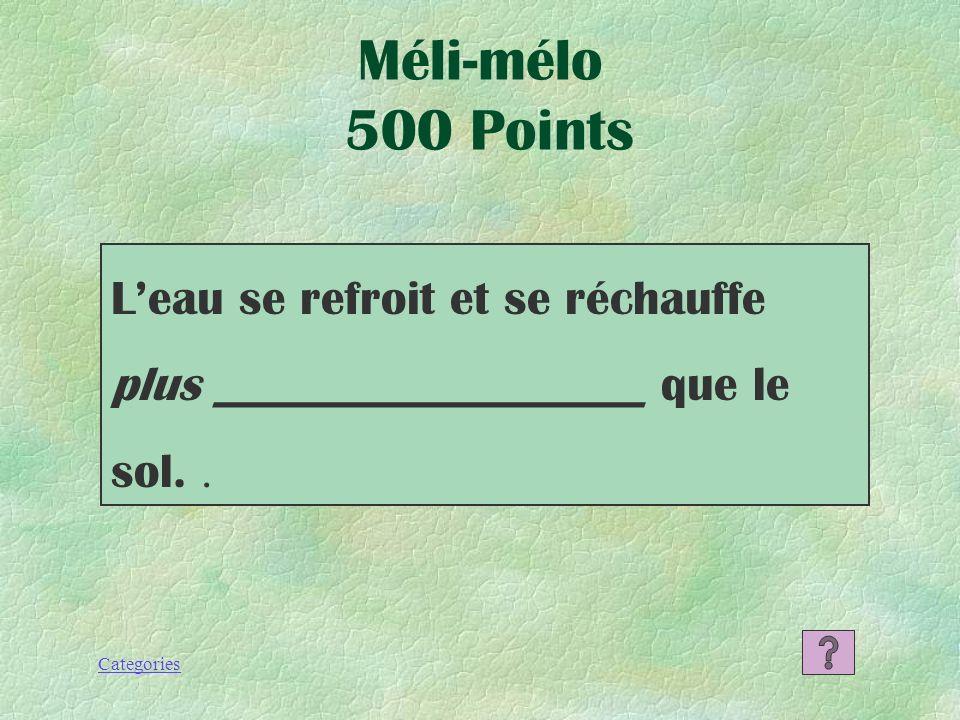 Categories La latitude Les masses dair L`élévation Les courants océaniques La proximité de leau Méli-mélo 400 Points