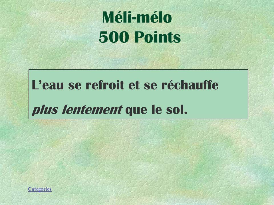 Categories Leau se refroit et se réchauffe plus __________________ que le sol.. Méli-mélo 500 Points