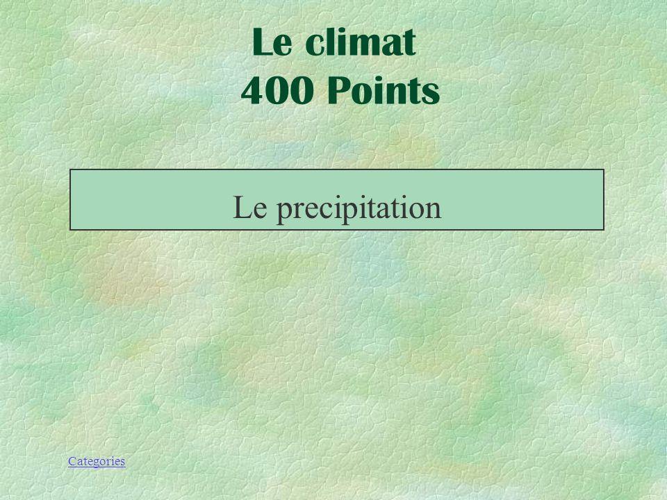 Categories La pluie, neige ou toute autre forme de particule deau qui tombent de latmosphère. Le climat 400 Points