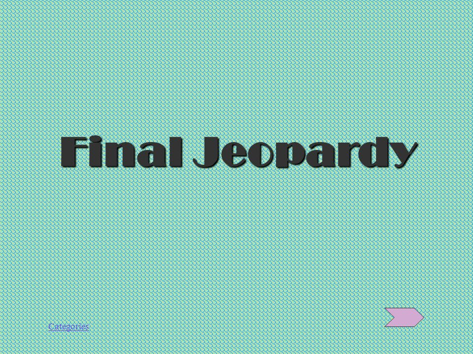 Categories Félicitations à tous les groupes! Now…for Final Jeopardy!
