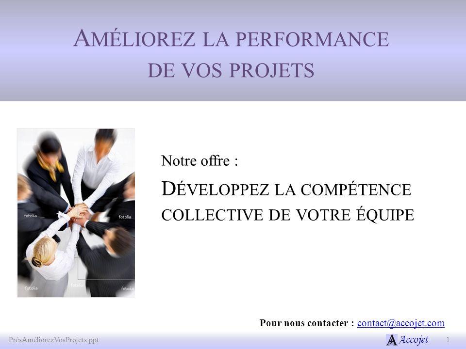 Accojet A MÉLIOREZ LA PERFORMANCE DE VOS PROJETS 1 PrésAméliorezVosProjets.ppt Pour nous contacter : contact@accojet.comcontact@accojet.com Notre offr