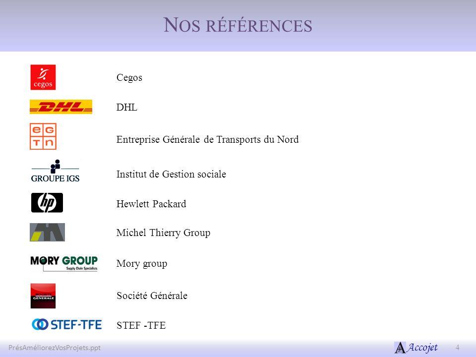 Accojet N OS RÉFÉRENCES 4PrésAméliorezVosProjets.ppt Entreprise Générale de Transports du Nord Institut de Gestion sociale Michel Thierry Group Cegos