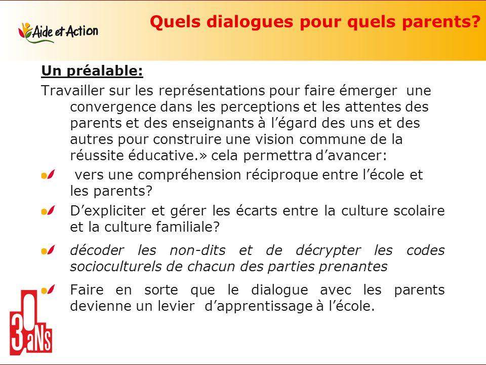 Quels dialogues pour quels parents? Un préalable: Travailler sur les représentations pour faire émerger une convergence dans les perceptions et les at