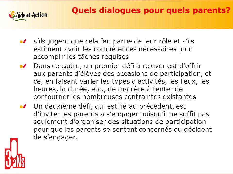 Quels dialogues pour quels parents? sils jugent que cela fait partie de leur rôle et sils estiment avoir les compétences nécessaires pour accomplir le