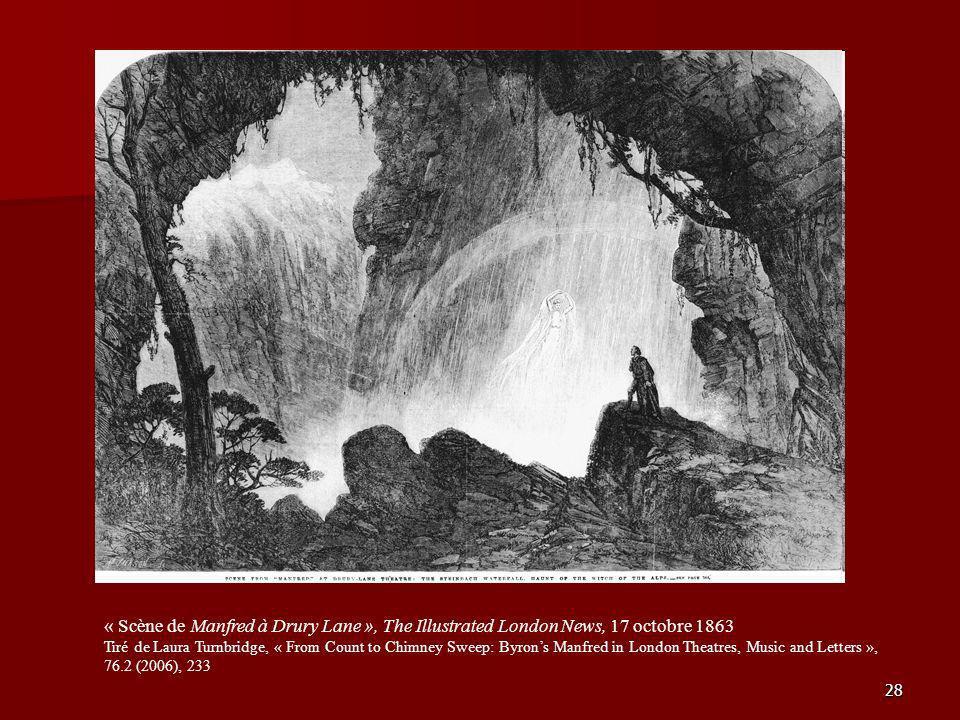 28 « Scène de Manfred à Drury Lane », The Illustrated London News, 17 octobre 1863 Tiré de Laura Turnbridge, « From Count to Chimney Sweep: Byrons Man