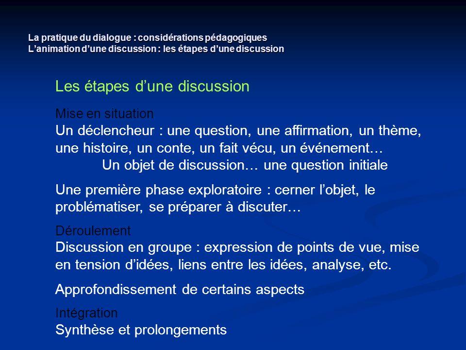 La pratique du dialogue : considérations pédagogiques Lanimation dune discussion : les étapes dune discussion Les étapes dune discussion Mise en situa
