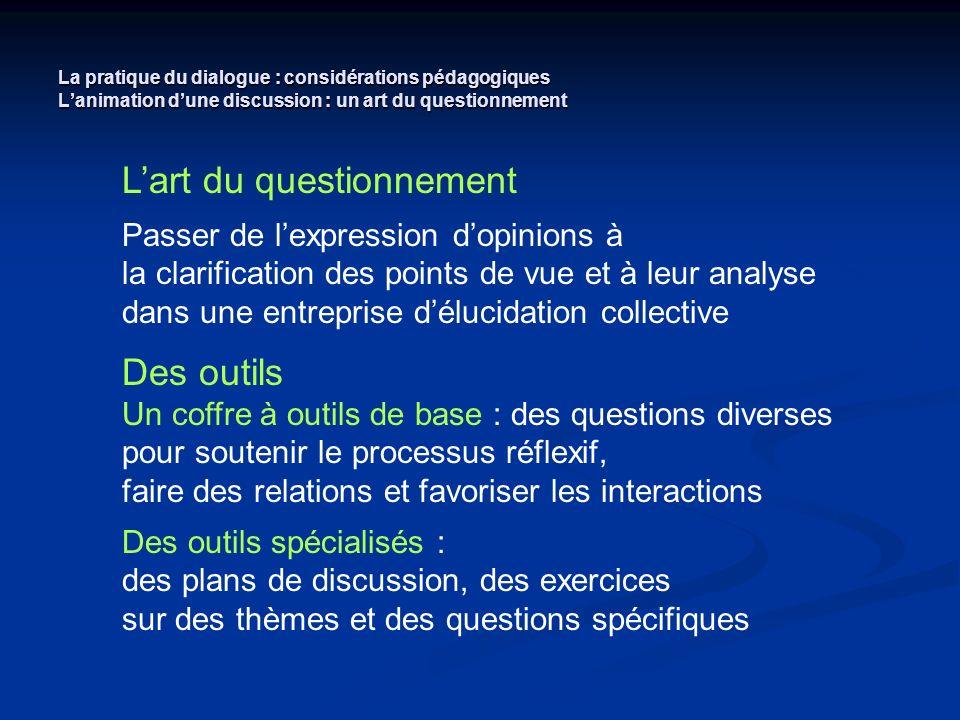 La pratique du dialogue : considérations pédagogiques Lanimation dune discussion : un art du questionnement Lart du questionnement Passer de lexpressi