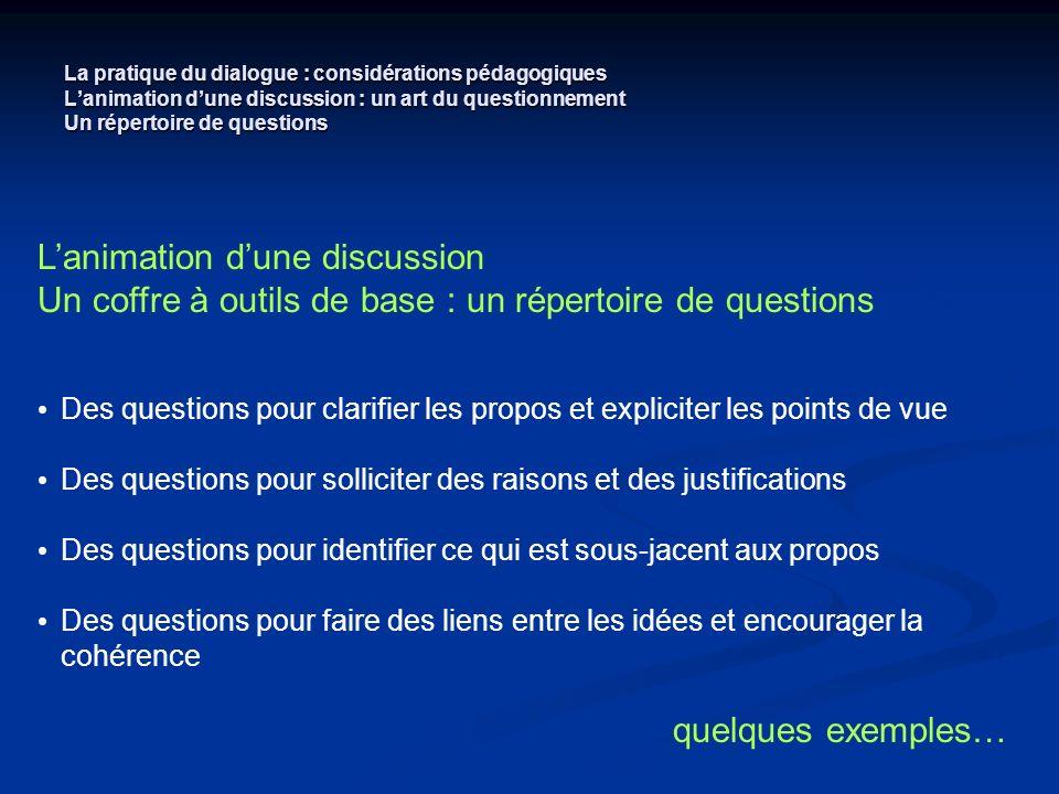 La pratique du dialogue : considérations pédagogiques Lanimation dune discussion : un art du questionnement Un répertoire de questions Lanimation dune