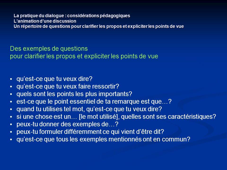 La pratique du dialogue : considérations pédagogiques Lanimation dune discussion Un répertoire de questions pour clarifier les propos et expliciter le