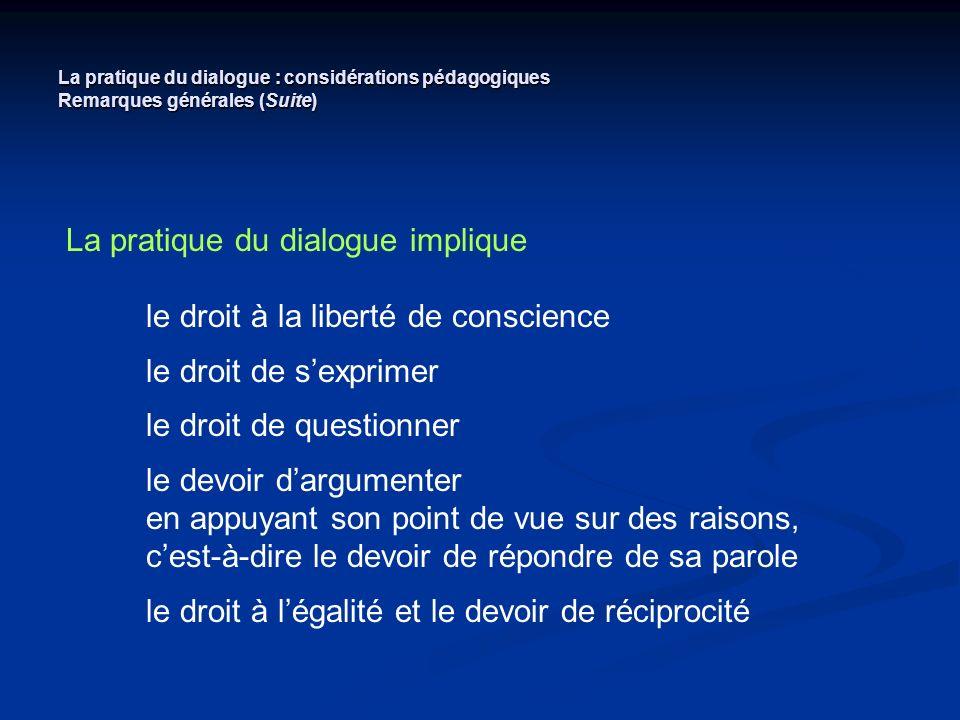 La pratique du dialogue : considérations pédagogiques Remarques générales (Suite) La pratique du dialogue implique le droit à la liberté de conscience