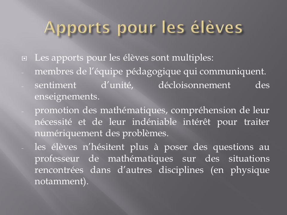 Les apports pour les élèves sont multiples: - membres de léquipe pédagogique qui communiquent. - sentiment dunité, décloisonnement des enseignements.