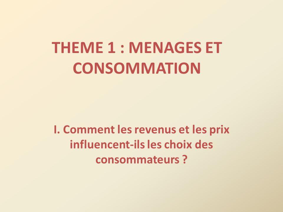 THEME 1 : MENAGES ET CONSOMMATION I. Comment les revenus et les prix influencent-ils les choix des consommateurs ?